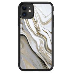 Leuke Telefoonhoesjes iPhone 11 glazen hardcase - Marmer wit goud