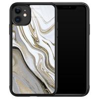 iPhone 11 glazen hardcase - Marmer wit goud