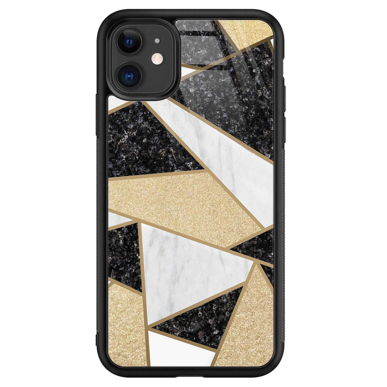 iPhone 11 glazen hardcase - Goud abstract