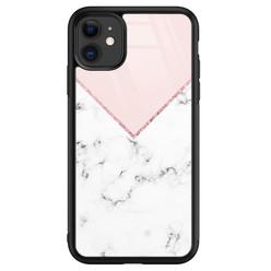 Leuke Telefoonhoesjes iPhone 11 glazen hardcase - Marmer roze grijs