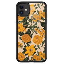 Leuke Telefoonhoesjes iPhone 11 glazen hardcase - Retro flowers