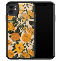 iPhone 11 glazen hardcase - Retro flowers
