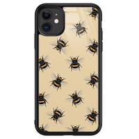 iPhone 11 glazen hardcase - Bee happy