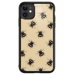 Leuke Telefoonhoesjes iPhone 11 glazen hardcase - Bee happy
