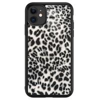 iPhone 11 glazen hardcase - Luipaard grijs