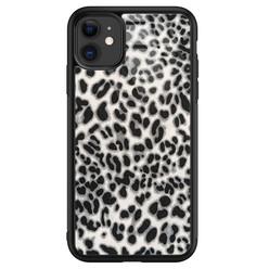 Leuke Telefoonhoesjes iPhone 11 glazen hardcase - Luipaard grijs