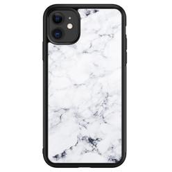 Leuke Telefoonhoesjes iPhone 11 glazen hardcase - Marmer grijs