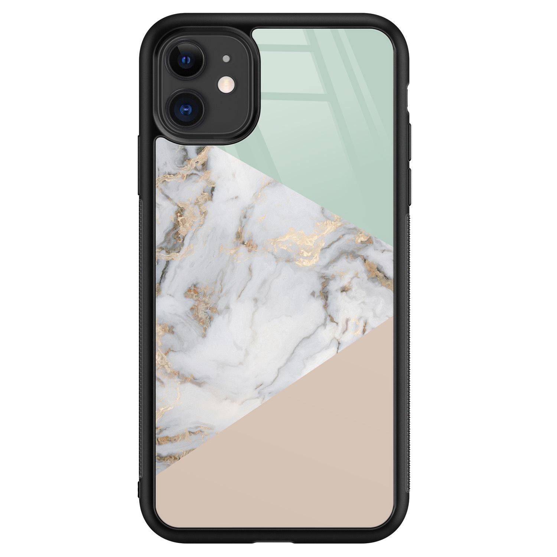 iPhone 11 glazen hardcase - Marmer pastel mix