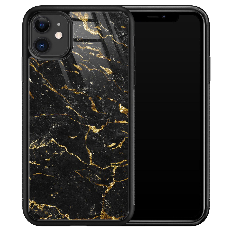 iPhone 11 glazen hardcase - Marmer zwart goud