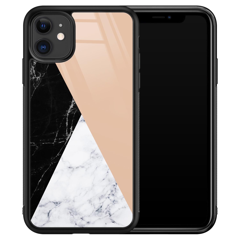 iPhone 11 glazen hardcase - Marmer zwart bruin