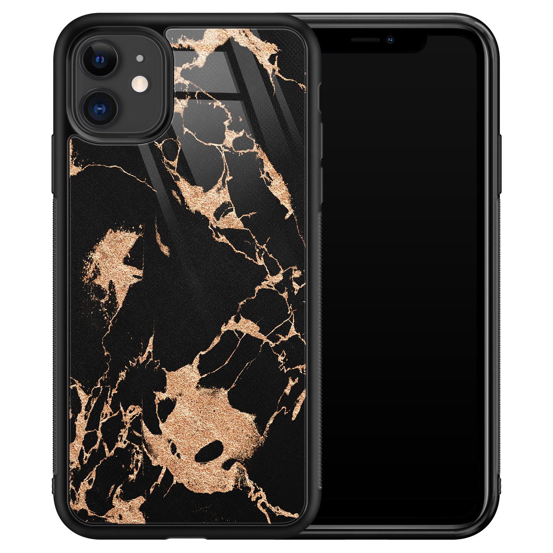 iPhone 11 glazen hardcase - Marmer zwart brons
