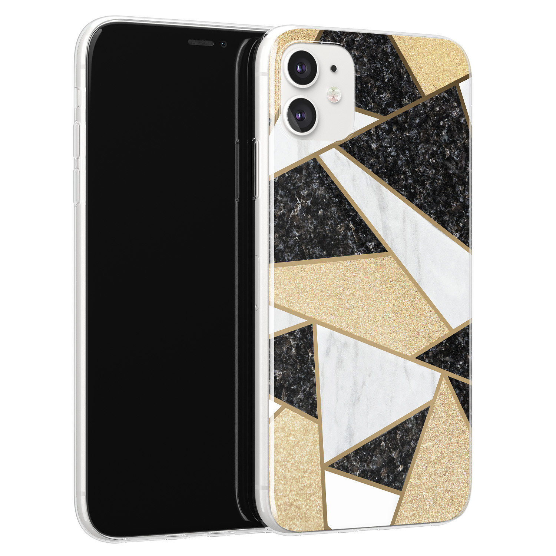 Leuke Telefoonhoesjes iPhone 11 siliconen hoesje - Goud abstract