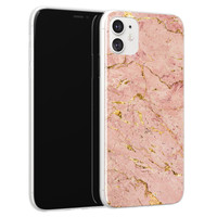iPhone 11 siliconen hoesje - Marmer roze goud