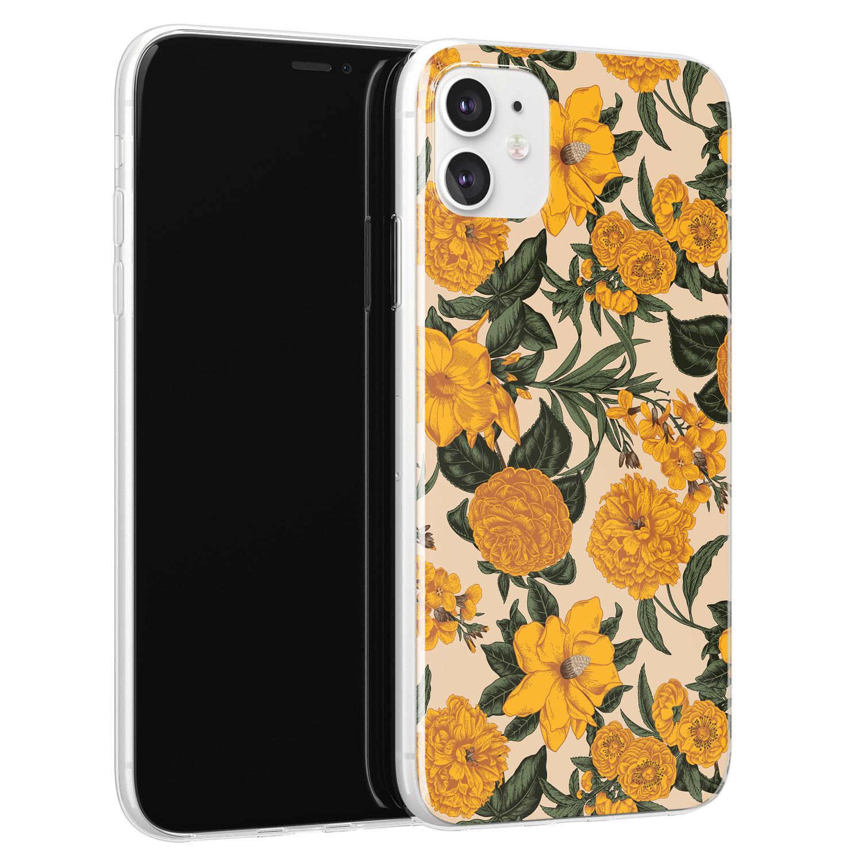 Leuke Telefoonhoesjes iPhone 11 siliconen hoesje - Retro flowers