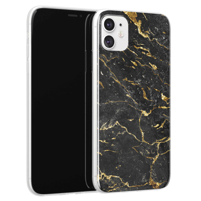 iPhone 11 siliconen hoesje - Marmer zwart goud