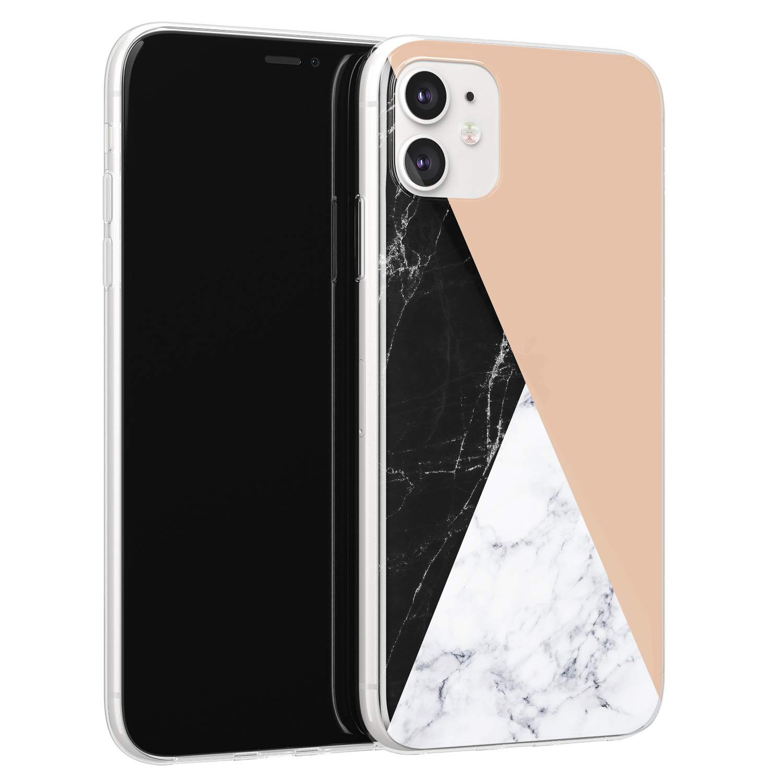 iPhone 11 siliconen hoesje - Marmer zwart bruin