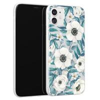 iPhone 11 siliconen hoesje - Witte bloemen