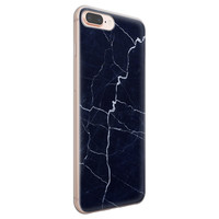 iPhone 8 Plus/7 Plus siliconen hoesje - Marmer navy blauw