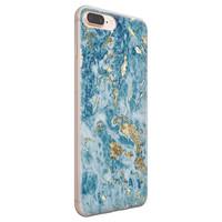 iPhone 8 Plus/7 Plus siliconen hoesje - Goud blauw marmer