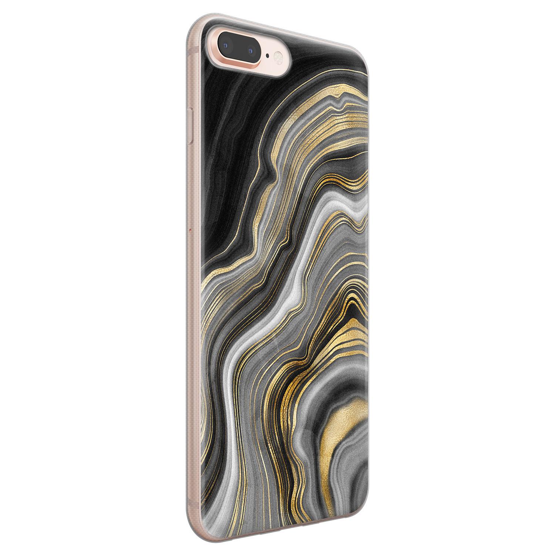 iPhone 8 Plus/7 Plus siliconen hoesje - Golden agate