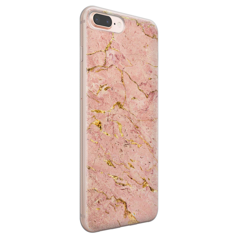 Leuke Telefoonhoesjes iPhone 8 Plus/7 Plus siliconen hoesje - Marmer roze goud