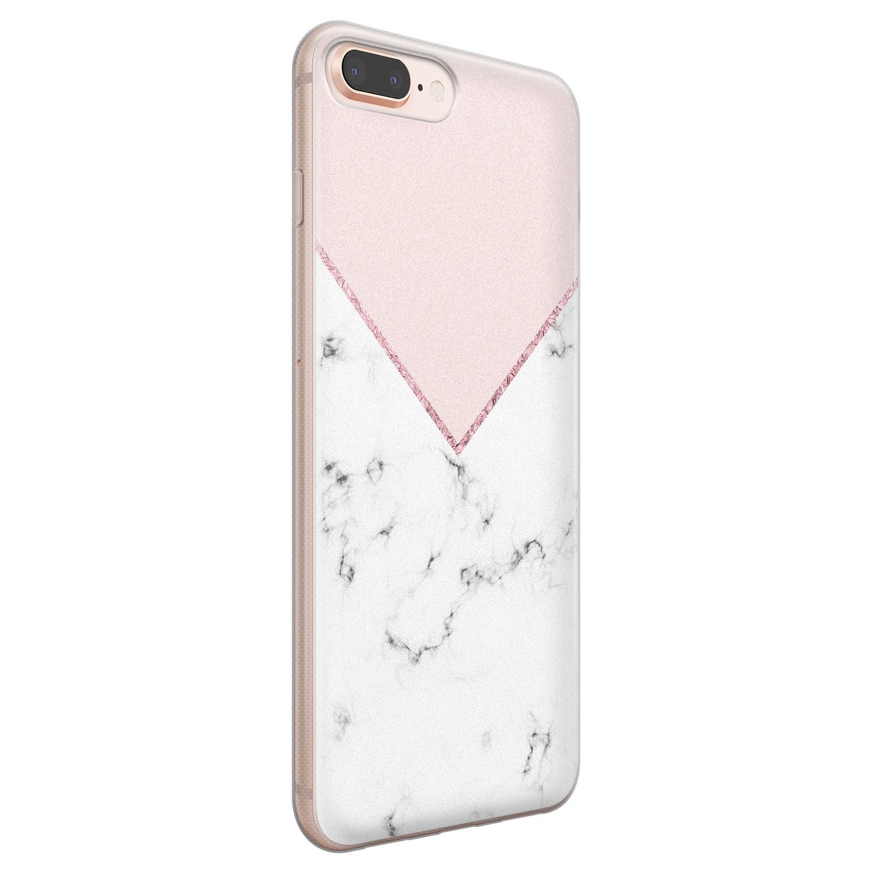iPhone 8 Plus/7 Plus siliconen hoesje - Marmer roze grijs