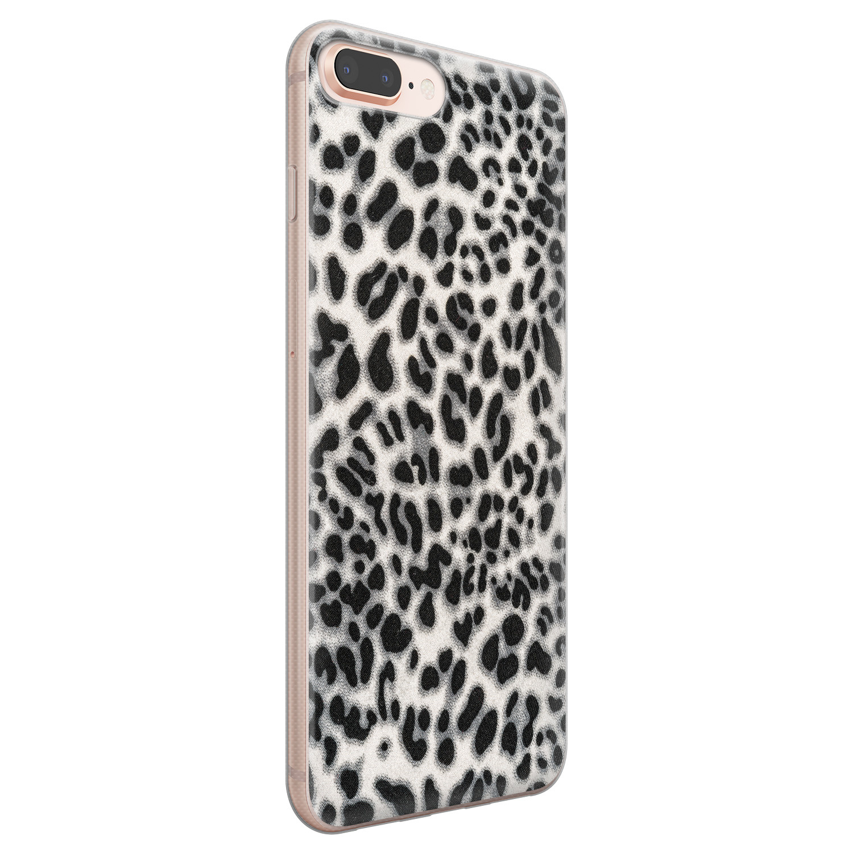 Leuke Telefoonhoesjes iPhone 8 Plus/7 Plus siliconen hoesje - Luipaard grijs