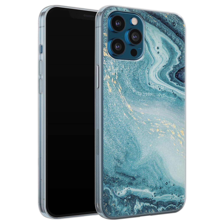 Leuke Telefoonhoesjes iPhone 12 Pro siliconen hoesje - Marmer blauw