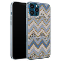 Leuke Telefoonhoesjes iPhone 12 Pro siliconen hoesje - Retro zigzag