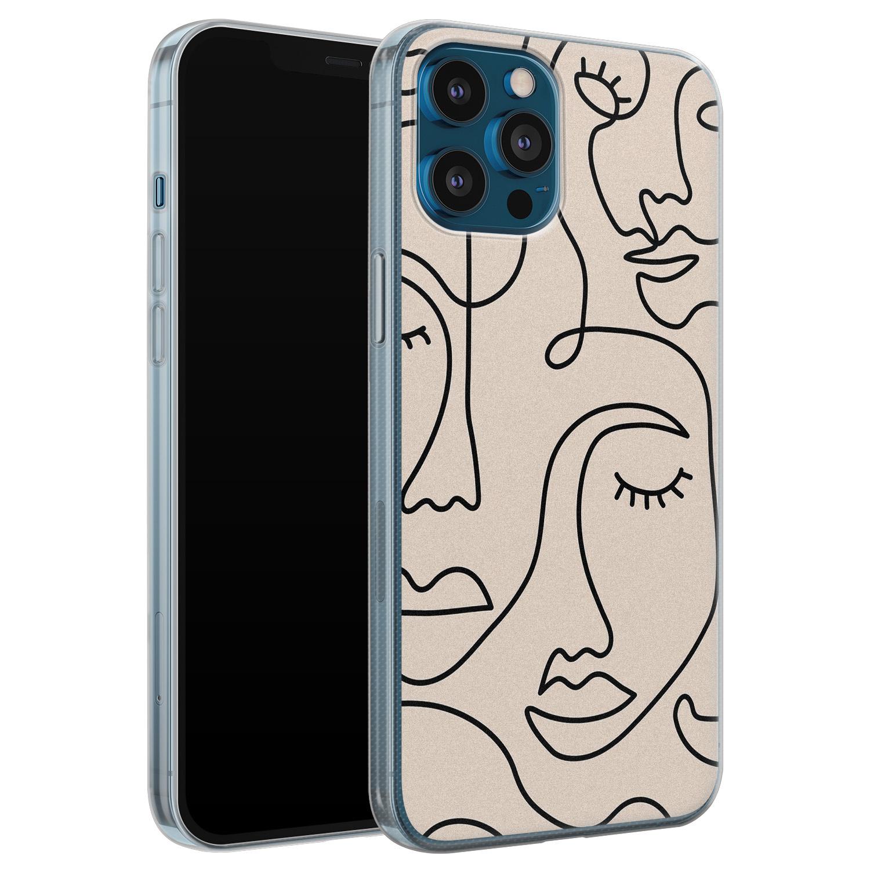 Leuke Telefoonhoesjes iPhone 12 Pro siliconen hoesje - Abstract gezicht lijnen