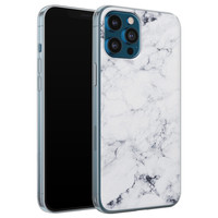 iPhone 12 Pro siliconen hoesje - Marmer grijs