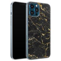 iPhone 12 Pro siliconen hoesje - Marmer zwart goud