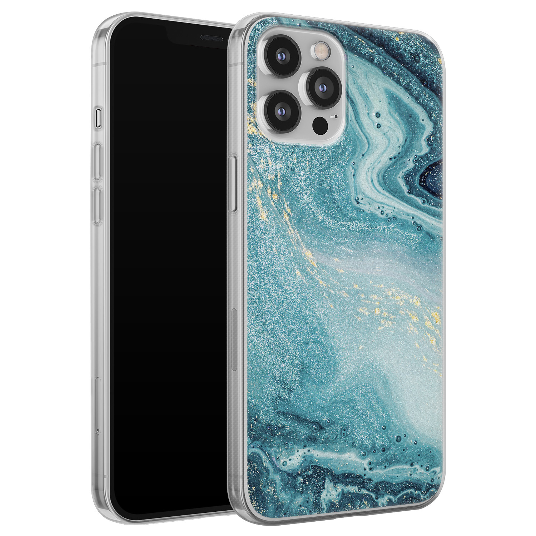 iPhone 12 Pro Max siliconen hoesje - Marmer blauw