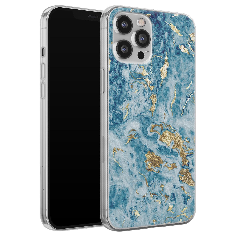 iPhone 12 Pro Max siliconen hoesje - Goud blauw marmer