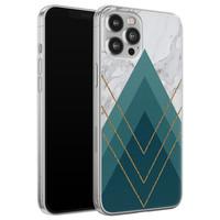 iPhone 12 Pro Max siliconen hoesje - Geometrisch blauw