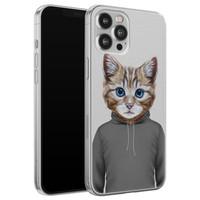 Leuke Telefoonhoesjes iPhone 12 Pro Max siliconen hoesje - Poezenhoofd