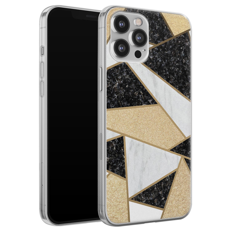 Leuke Telefoonhoesjes iPhone 12 Pro Max siliconen hoesje - Goud abstract