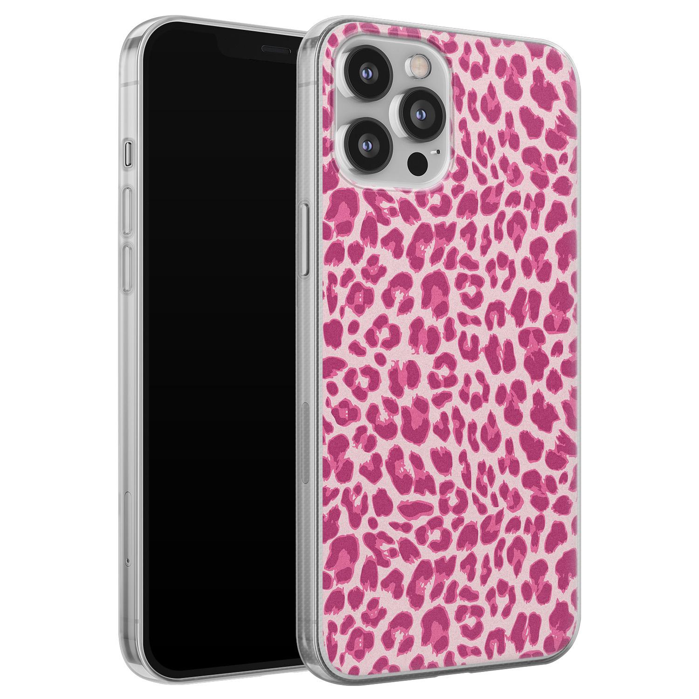 Leuke Telefoonhoesjes iPhone 12 Pro Max siliconen hoesje - Luipaard roze