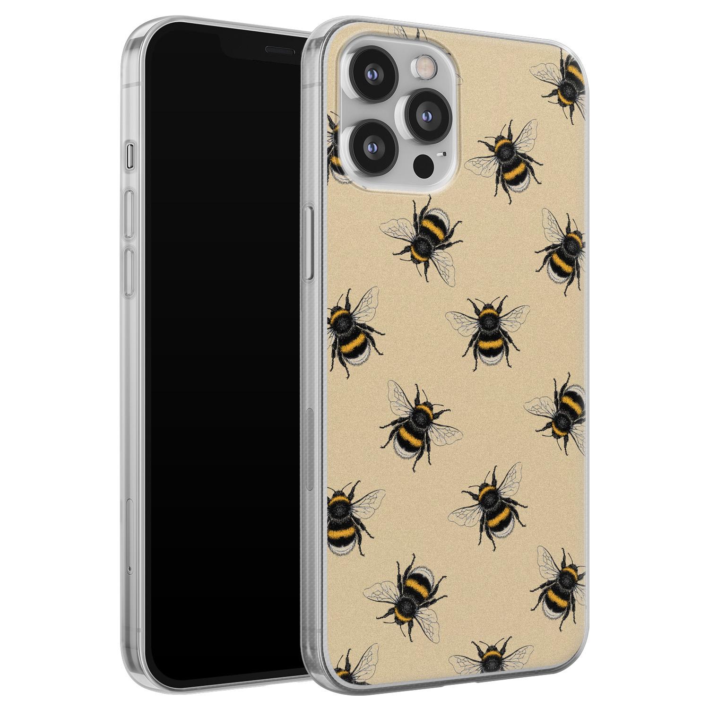 Leuke Telefoonhoesjes iPhone 12 Pro Max siliconen hoesje - Bee happy