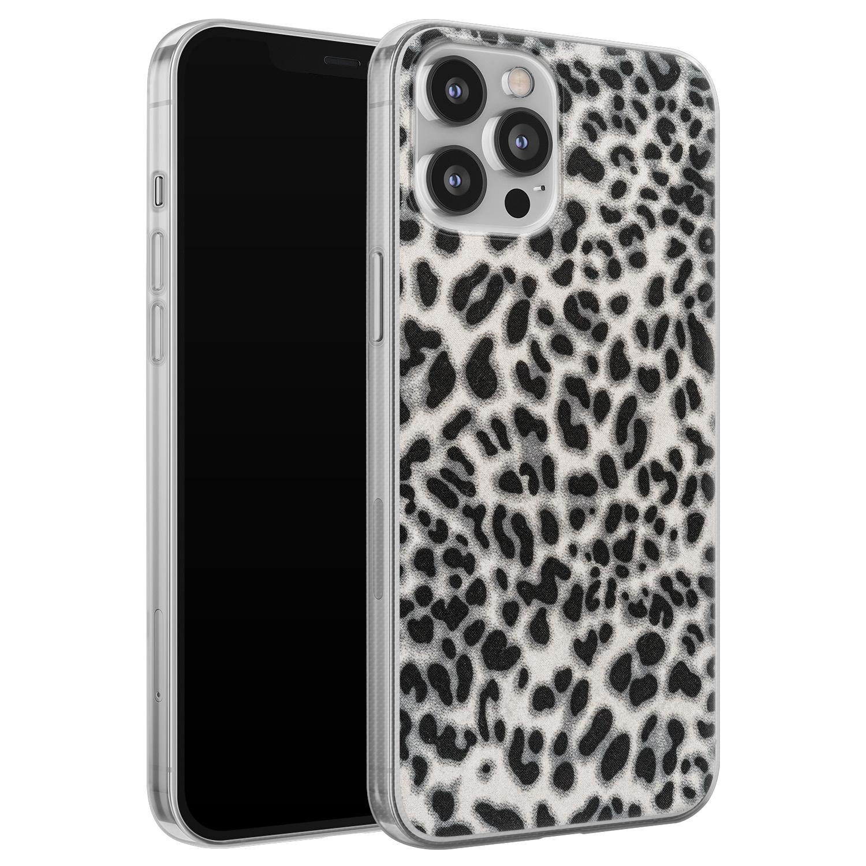 Leuke Telefoonhoesjes iPhone 12 Pro Max siliconen hoesje - Luipaard grijs
