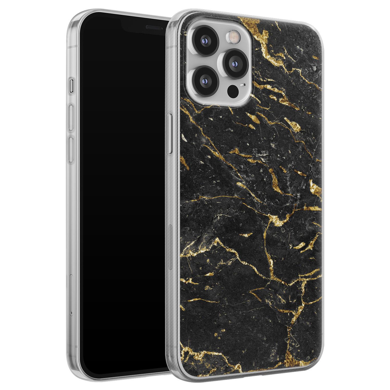 Leuke Telefoonhoesjes iPhone 12 Pro Max siliconen hoesje - Marmer zwart goud