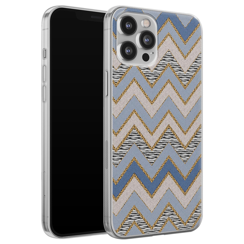 iPhone 12 Pro Max siliconen hoesje - Retro zigzag