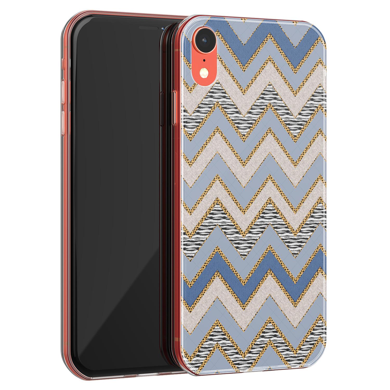 iPhone XR siliconen hoesje - Retro zigzag