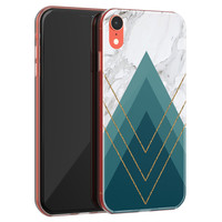 iPhone XR siliconen hoesje - Geometrisch blauw
