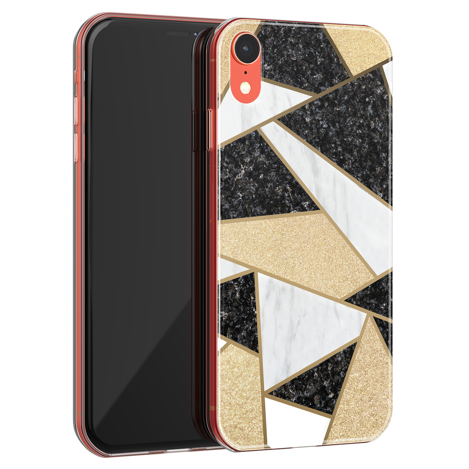 iPhone XR siliconen hoesje - Goud abstract