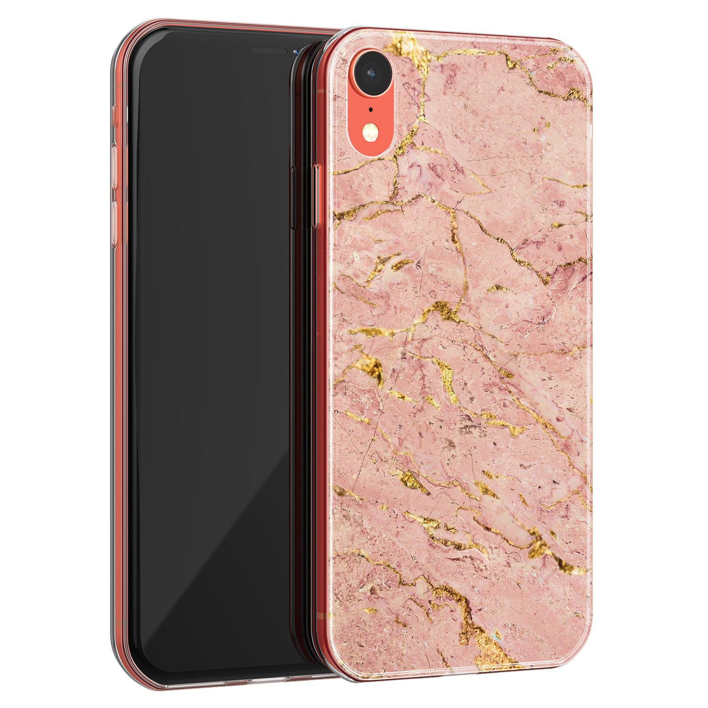 iPhone XR siliconen hoesje - Marmer roze goud