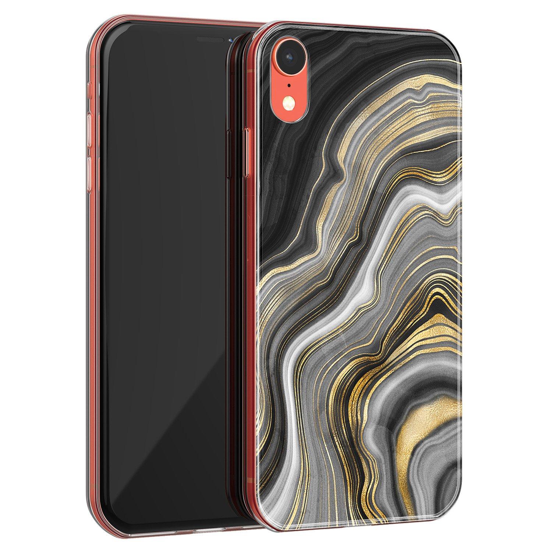 iPhone XR siliconen hoesje - Golden agate