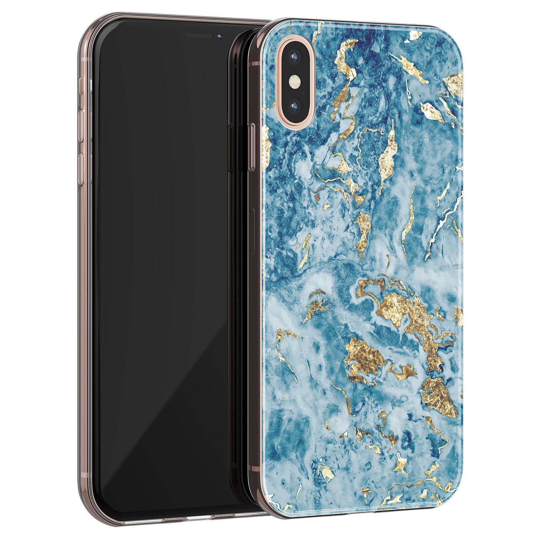 Leuke Telefoonhoesjes iPhone X/XS siliconen hoesje - Goud blauw marmer