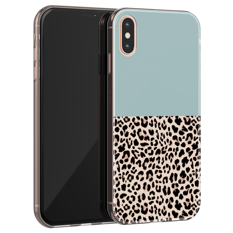 iPhone X/XS siliconen hoesje - Luipaard mint