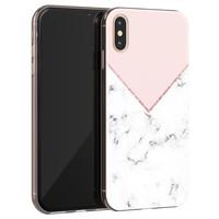 Leuke Telefoonhoesjes iPhone X/XS siliconen hoesje - Marmer roze grijs